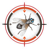 Sniper target with housefly Royalty Free Stock Image