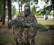 Sniper of Ukrainian Armed Forces in camouflage in National Guard Stock Photo