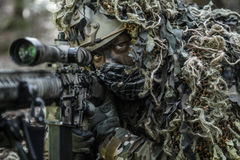 Sniper wearing ghillie suit. United states army ranger sniper wearing ghillie suit Stock Photo