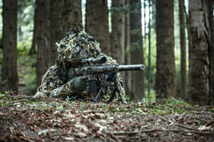Sniper wearing ghillie suit. United states army ranger sniper wearing ghillie suit Royalty Free Stock Images