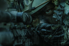 Sniper wearing ghillie suit. United states army ranger sniper wearing ghillie suit Royalty Free Stock Photos