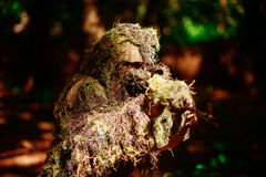 Sniper wears ghillie suit. Sniper man or war soldier wears ghillie suit military clothing camouflage with sniping rifle on natural environment background Stock Photo
