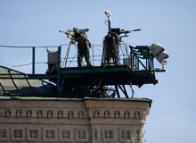 Snipers of the Federal Security Service provide security during the military parade on Red Square. MOSCOW, RUSSIA MAY 9, 2018: Snipers of the Federal Security stock image