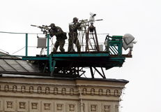 Snipers of the Federal security service of Russia to provide security during a military parade on red square. MOSCOW, RUSSIA - MAY 9, 2017: Snipers of the royalty free stock images