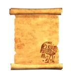Snirkel av gammalt pergament Arkivfoto