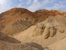 Snirkelgrottor för dött hav, Qumran, Israel Arkivbilder
