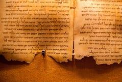Snirklar för dött hav på skärm på grottorna av Qumran De består arkivbild
