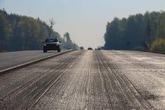 Snitt av det bästa asfaltlagret Arkivfoto
