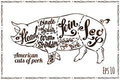 Snitt av griskött Svinintrig på affischen för slakt stock illustrationer