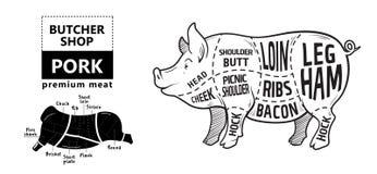 Snitt av köttuppsättningen Affischslaktarediagram, intrig och handbok - griskött Typografisk för tappning som hand-dras på en sva vektor illustrationer