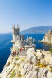 Snitt-bort av sydkusten av Krim Yalta, svalas redeensemble Arkivfoto