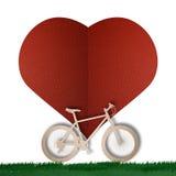 Snitt för papper för cykelförälskelsehjärta Royaltyfria Bilder