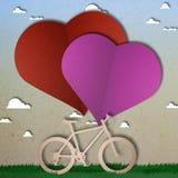 Snitt för papper för cykelförälskelsehjärta Fotografering för Bildbyråer