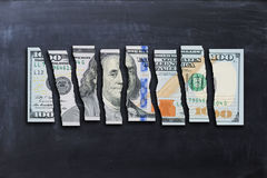 Snitt för US dollarräkning i stycken som föreslår svag ekonomi Royaltyfria Foton