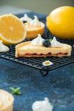 Snittet av citronkräm och blåbäret sitter fast tarts med maräng Arkivbild
