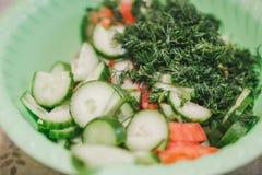 Snittgrönsaksalladen Grönsaksnittet på skivor i en bunke Salladsommar Royaltyfri Fotografi