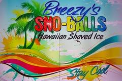 sno-boules de signe de la Rétro-publicité Images libres de droits