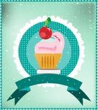 Snoepje op gestippelde achtergrond, wit kant, lint Royalty-vrije Stock Foto's