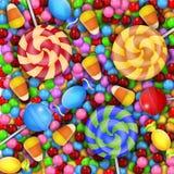 Snoepje van suikergoed met lolly en suikergoedgraan Stock Afbeeldingen