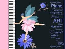 Snoepje weinig gevleugelde fee - ballerina in het roze tutu spelen op een grote overleg grote piano Mooie blauwe kamille en abstr royalty-vrije illustratie