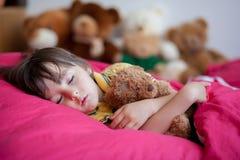 Snoepje weinig jongen, die in de middag met zijn teddybeer slapen stock afbeelding
