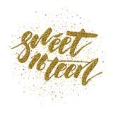 Snoepje Zestien - het van letters voorzien ontwerp Stock Foto