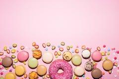 Snoepjes, achtergrond, Macaron Royalty-vrije Stock Foto