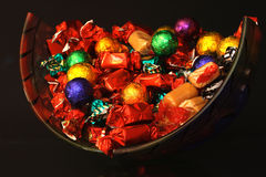 Snoepjes in een glaskom royalty-vrije stock foto's
