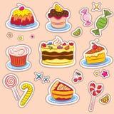 Snoepjes en cakesStickers Royalty-vrije Stock Afbeeldingen