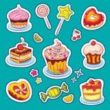 Snoepjes en cakesStickers Royalty-vrije Stock Foto's