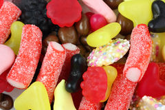 Snoepjes en dichte omhooggaand van de suikergoedmengeling Stock Afbeelding