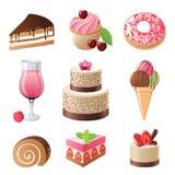 Snoepjes en geplaatste suikergoedpictogrammen Royalty-vrije Stock Fotografie
