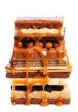 Snoepjes en noten met karamel Stock Foto
