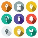 Snoepjes en reeks van het roomijs de vlakke pictogram Royalty-vrije Stock Afbeeldingen
