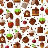 Snoepjes en suikergoed, naadloos chocoladeroomijs Stock Afbeelding