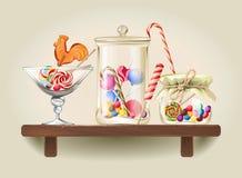 Snoepjes in glaskruiken op houten plank vector illustratie