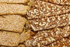Snoepjes met noten en sesam Royalty-vrije Stock Fotografie
