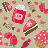 Snoepjes. Naadloze retro achtergrond Stock Foto