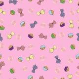 Snoepjes op een roze Royalty-vrije Stock Afbeeldingen