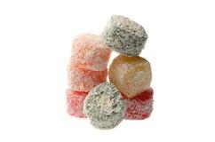 Snoepjes Turkse Verrukking, fruitgelei in de kleur van kokosnotenspaanders op a Stock Foto's