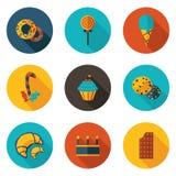 Snoepjes vlakke pictogrammen Royalty-vrije Stock Fotografie