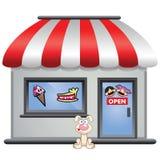 Snoepwinkel met puppy vooraan Royalty-vrije Stock Afbeelding