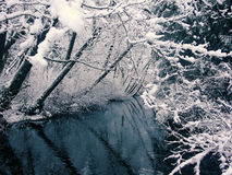 Snofall and Creek (view 3). A toned image of a creek, set in a winter's snowfall royalty free stock photos