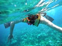Snokeling im Ozean Stockbild