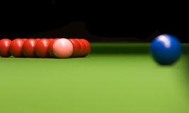 Snooker. Balls reds pink and blue on table Royalty Free Stock Image