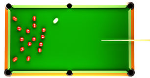 Snooker. Table with red balls on it. Balls are in motion after they where hit by the white ball. all balls are in motion blur. the illustration is 3d computer Royalty Free Stock Photo