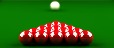 Snooker. Closeup of snooker table with red balls in the foreground the first balls are in focus, the white ball in background blurred. the illustration is 3d Royalty Free Stock Photos