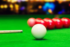 Snooker - aim the cue ball Stock Photos