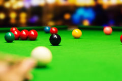 Snooker - aim the cue ball Stock Photography