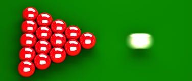 Snooker-Anfangsnahaufnahme Stockbild